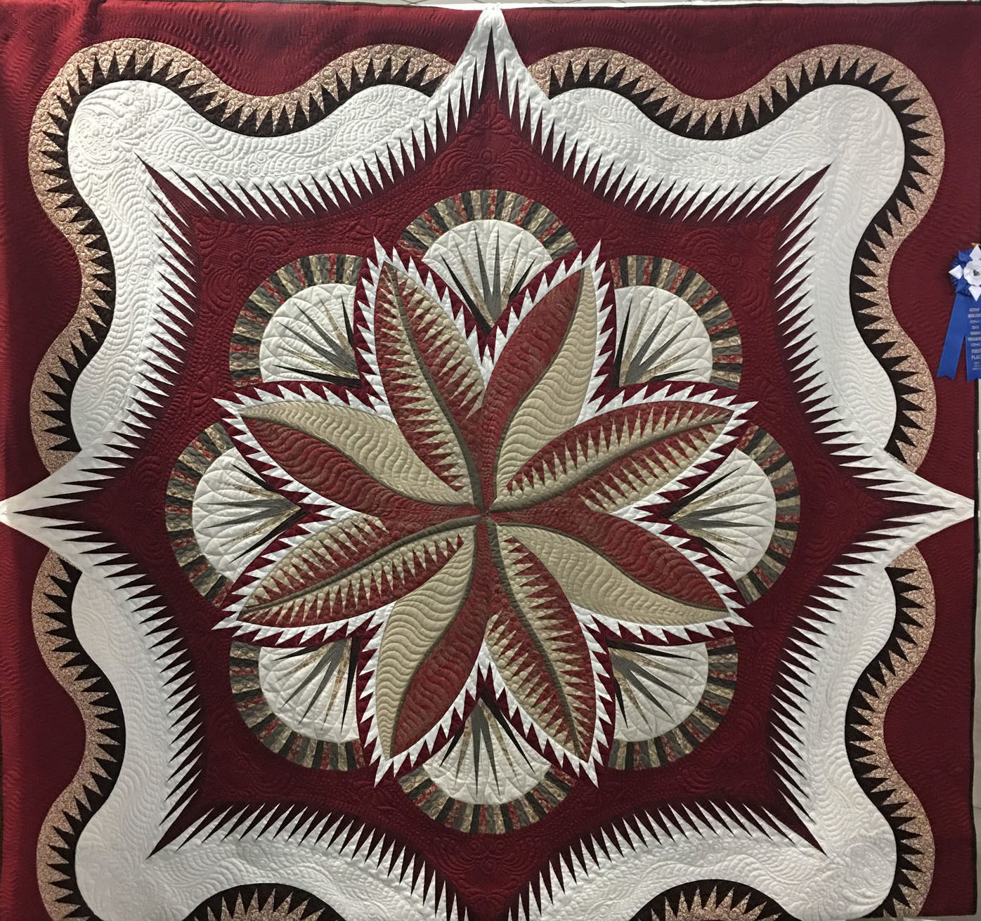 "108 ""Tumble"" made and quilted by Pam Knight, 1st Place Winner Large Individual Quilt, Kitsap Quilt Show 2018"
