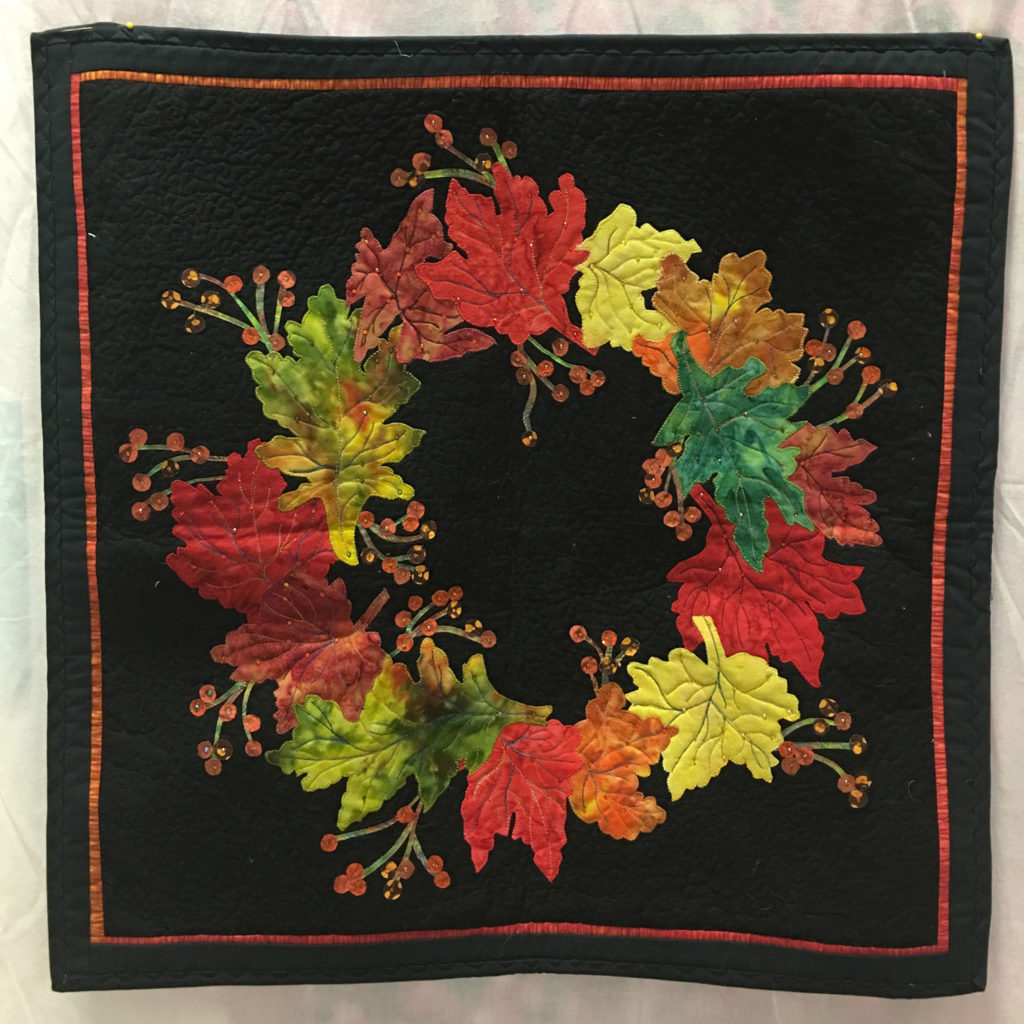 1256 Autumn Wreath by Terry Loy, 1st Place Challenge Non-Traditional, 2018 Kitsap Quilt Show