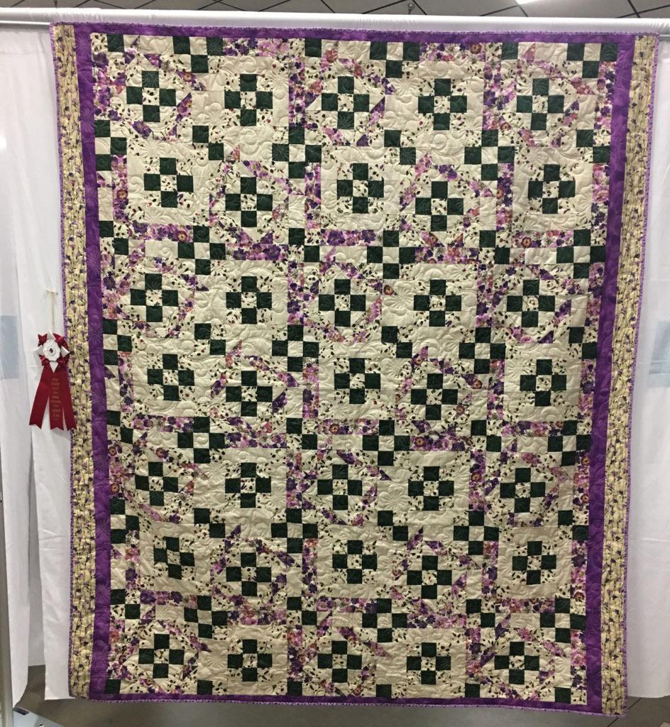 "1404 ""Summer Flower Garden"" by Debbie McKeever, 2nd Place 2017 Mystery Quilt, 2018 Kitsap Quilt Show"