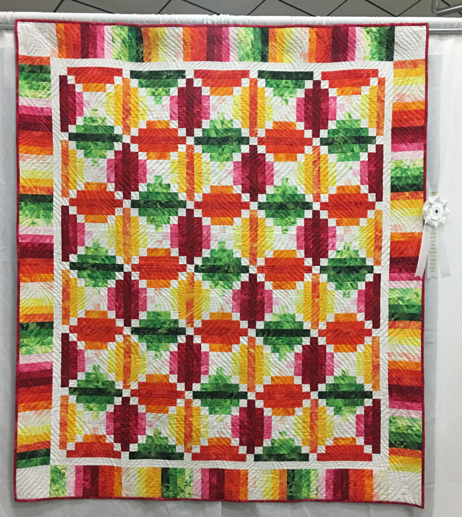 """307 """"Fruit Slices"""" by Marj Deupree, 3rd Place Med/Large Individual Quilt, 2018 Kitsap Quilt Show"""