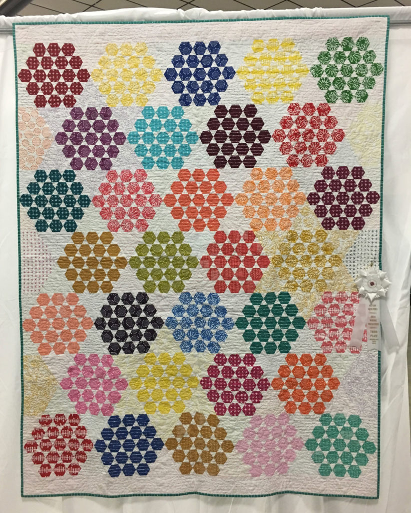 """421 """"Hexie Hexies"""" by Becky Rico, quilted by Linda Moran, 3rd Place Med/Lg Group Quilt, 2018 Kitsap Quilt Show"""