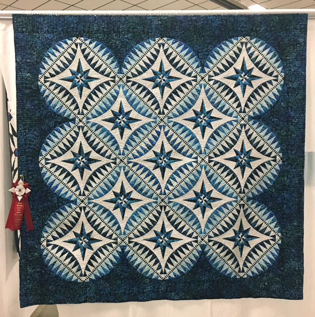 "422 ""Something Blue"" by Becky Rico, quilted by Teresa Silva, 2nd Place Med/Lg Group Quilt, 2018 Kitsap Quilt Show"