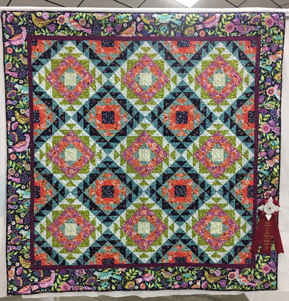 "606 ""The Jewel Box"" by Margaret Jones, quilted by Libie Peterson, 2nd Place Medium Group Quilt, 2018 Kitsap Quilt Show"