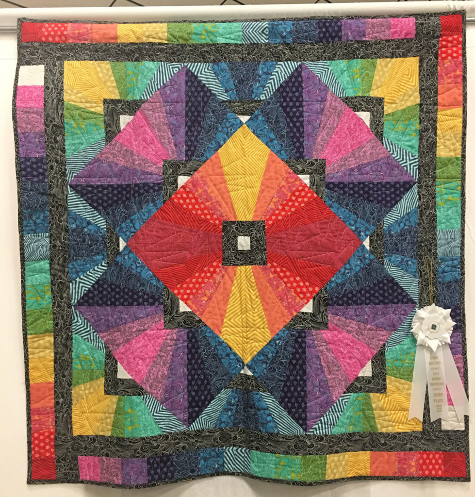 "608 ""Cheri's Prism"" by Cheri Searles, quilted by Marj Deupree, 3rd Place Medium Group Quilt, 2018 Kitsap Quilt Show"
