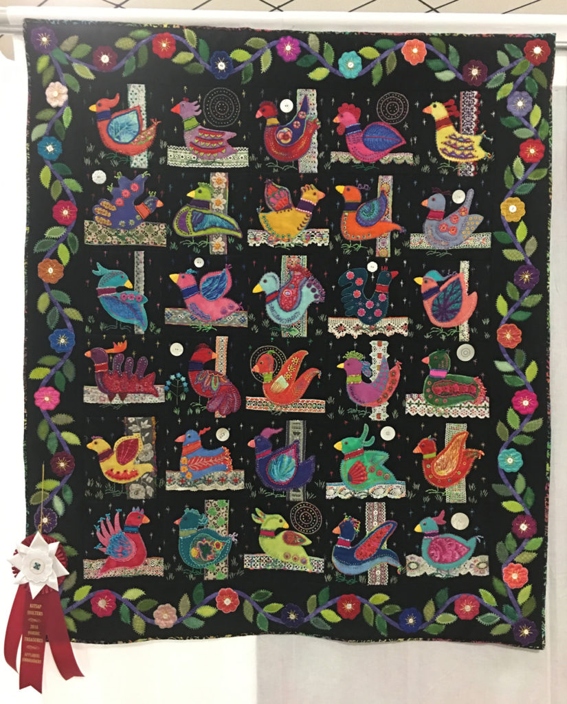 "809 ""Dancing with the Stars"" by Ann Trujillo, 2nd Place Applique/Embroidery, 2018 Kitsap Quilt Show"