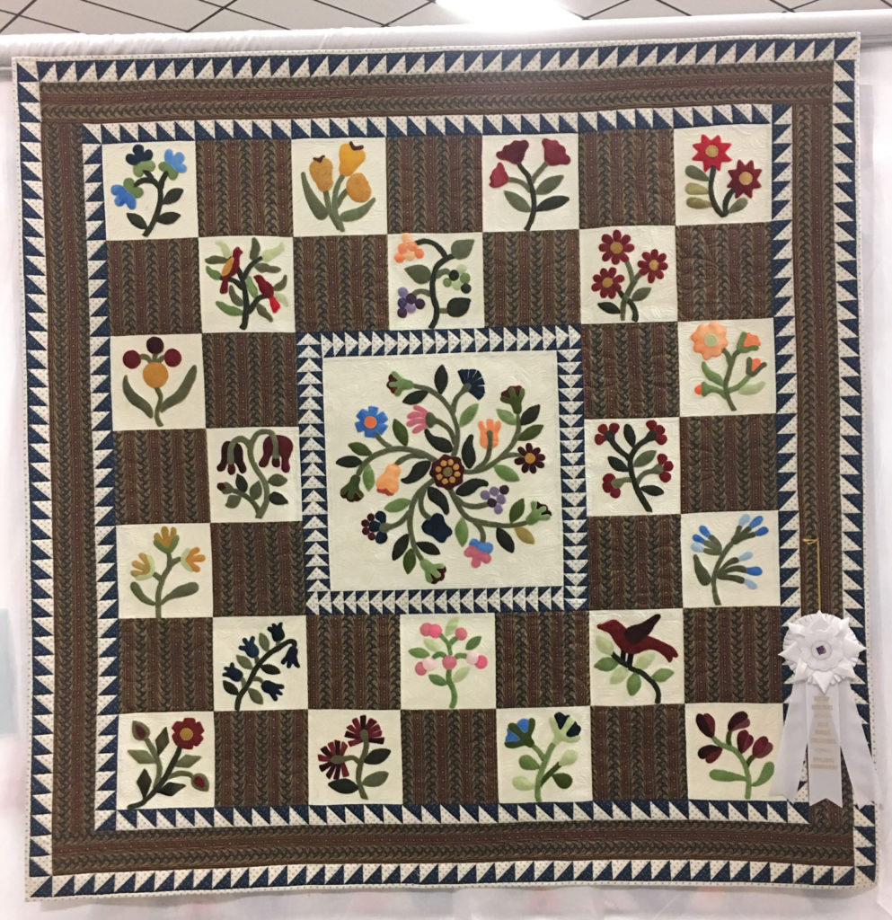 "810 ""Prairie Flowers"" by Mary Polensky, quilted by Jacque Noard, 3rd Place Applique/Embroidery, 2018 Kitsap Quilt Show"