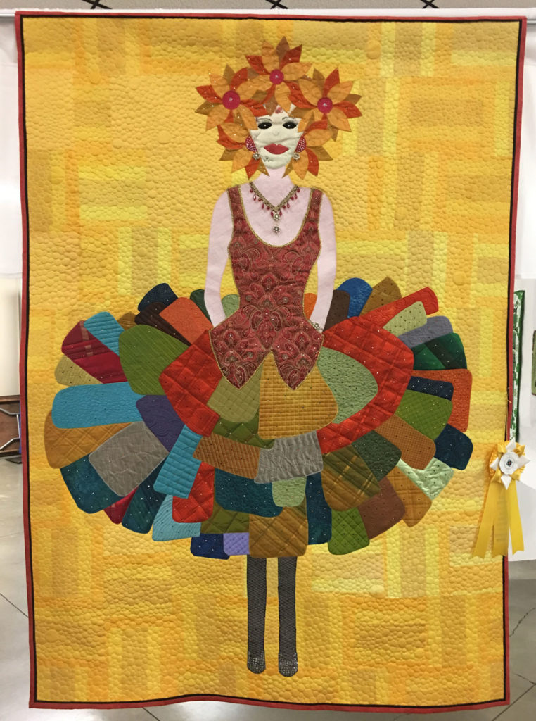"825 ""The Dress"" by Terry Loy, quilted by Libie Peterson, HM Applique/Embroidery, 2018 Kitsap Quilt Show"
