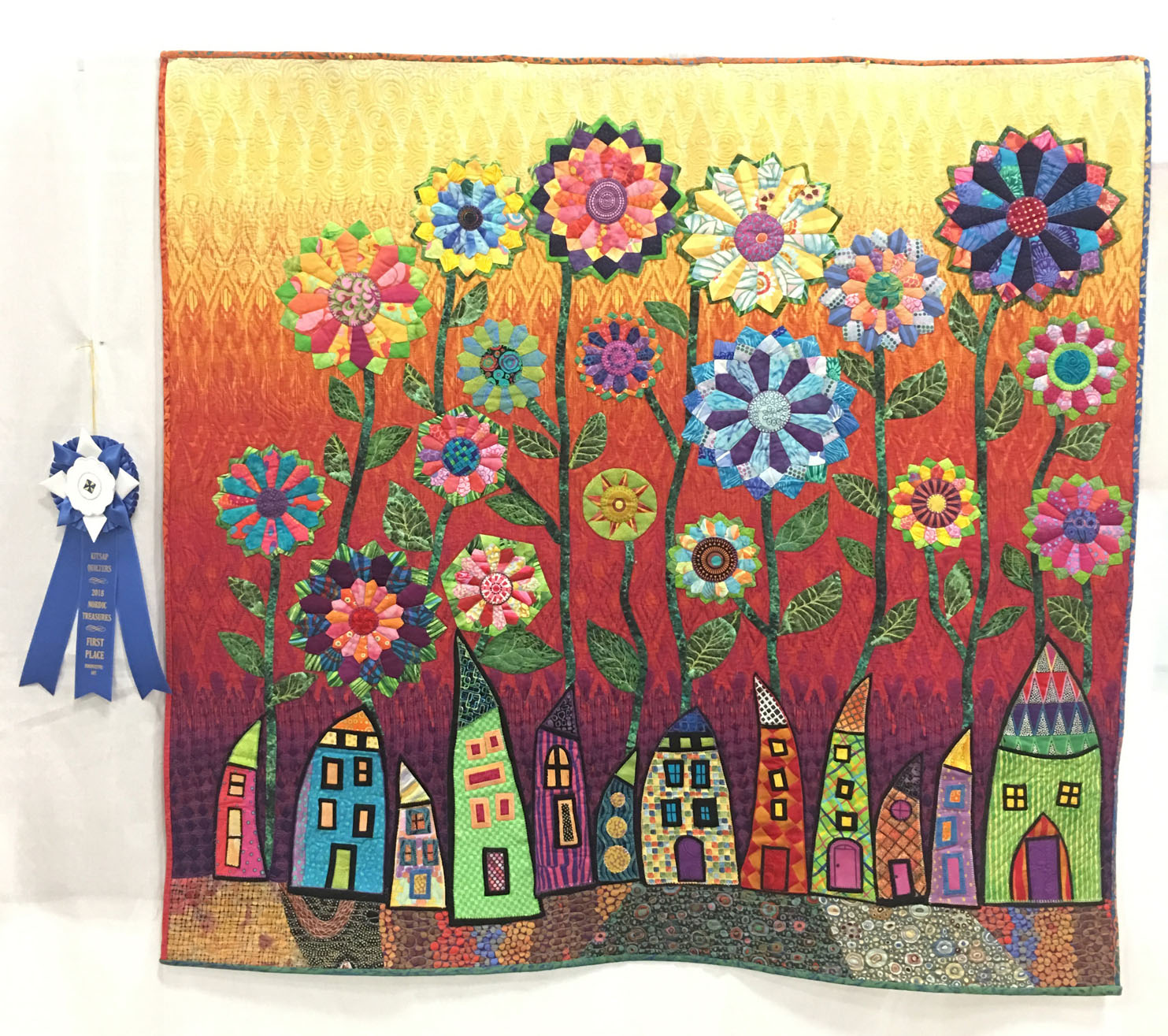 "904 ""Dresden Flowers"" by Terry Loy, quilted by Libie Peterson, 1st Place Art Quilt, 2018 Kitsap Quilt Show"