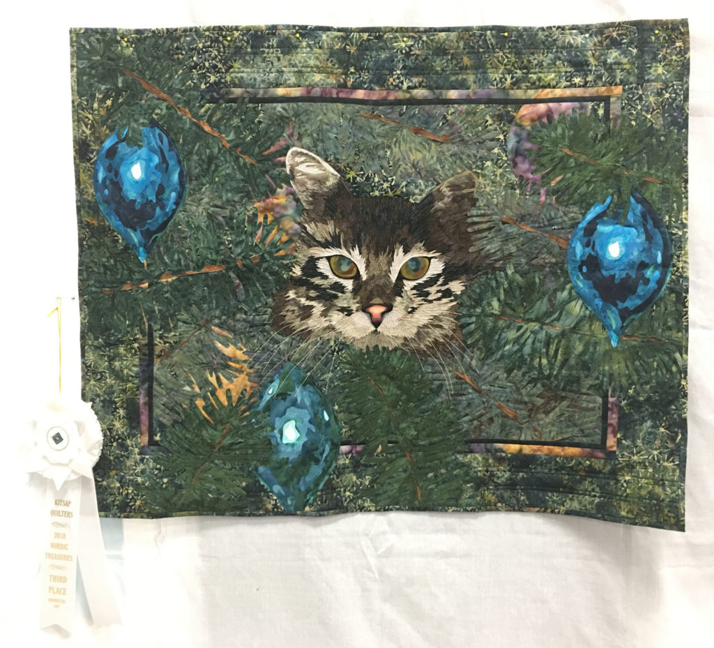 "905 ""Brownie"" by Debi Snyder, 3rd Place Art Quilt, 2018 Kitsap Quilt Show"